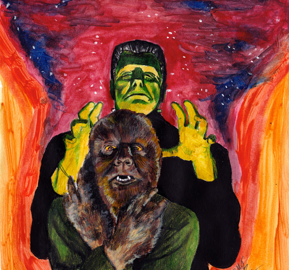 Frankenstein Monster and Wolf Man by smjblessing