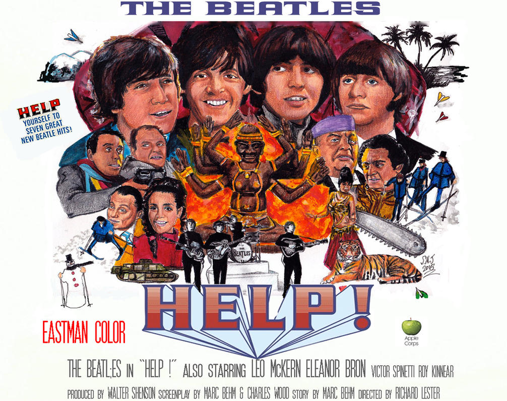 The Beatles - HELP ! - 50th Anniv. poster by smjblessing