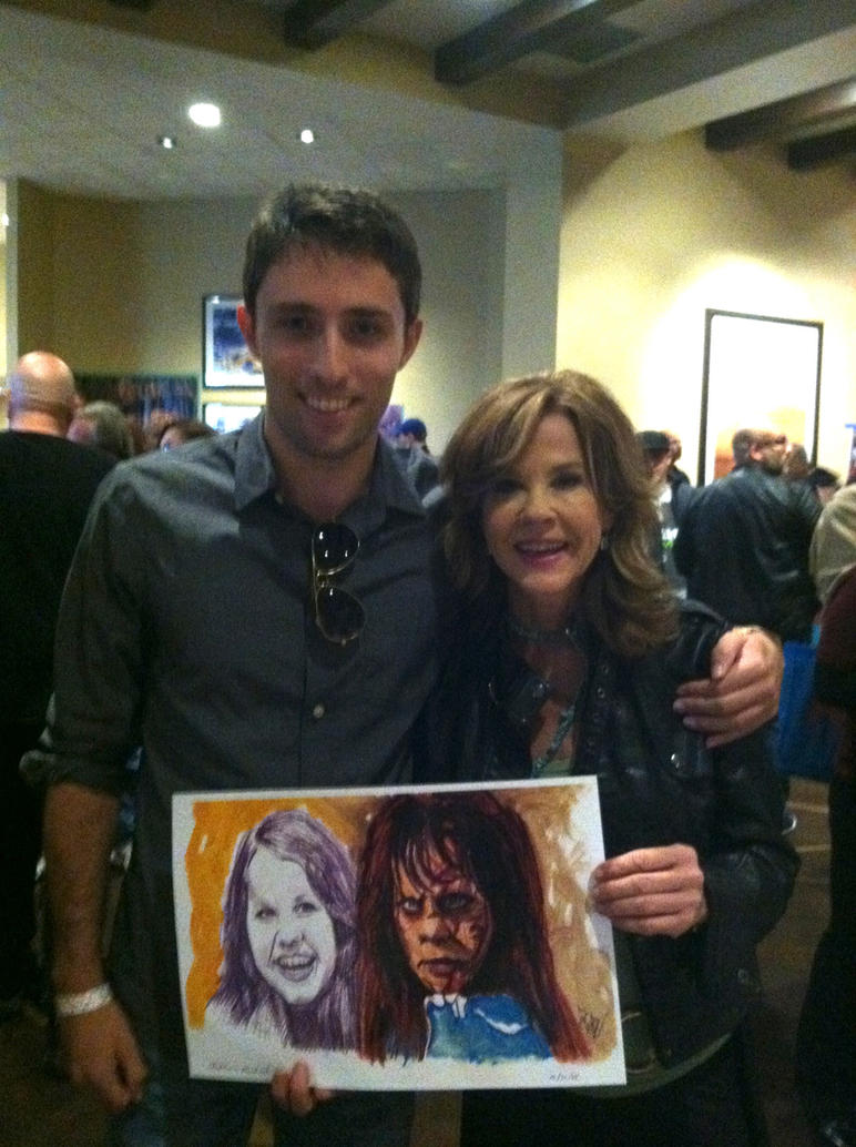 With Linda Blair and my artwork ! by smjblessing