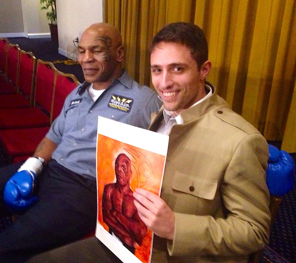 Me with Mike Tyson and art I did of him by smjblessing