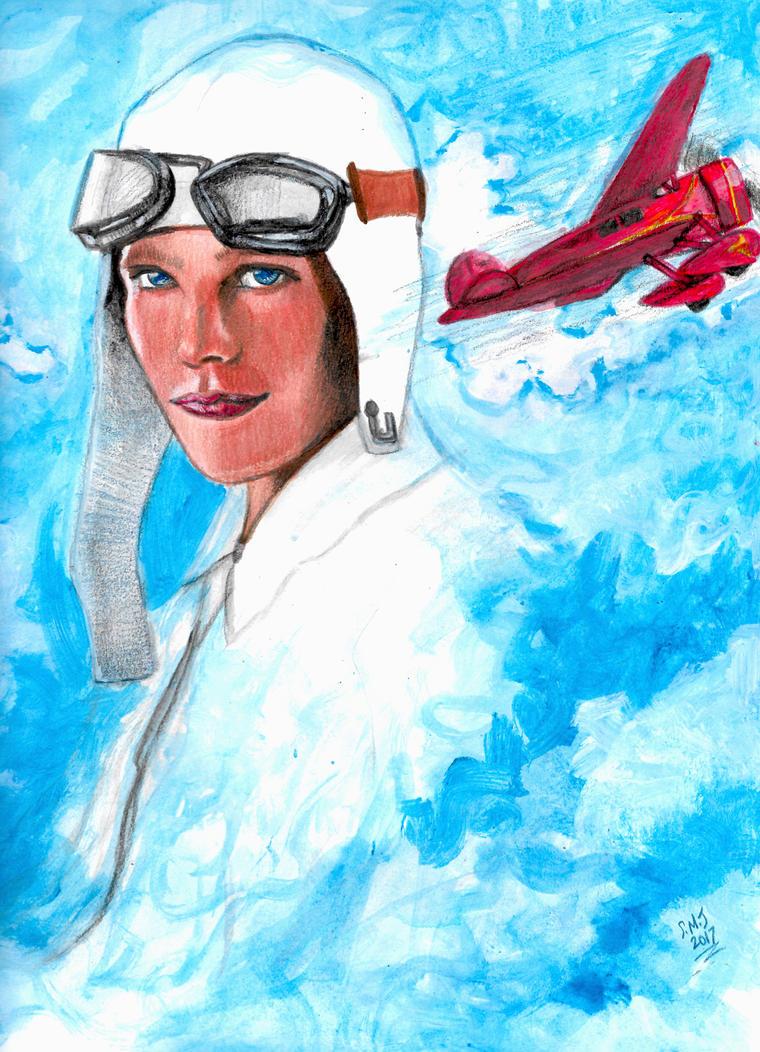 Amelia Earhart and Lockheed Vega 5B by smjblessing