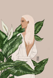 White hair Peggy in leaves