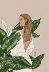 Blond haired girl with plants