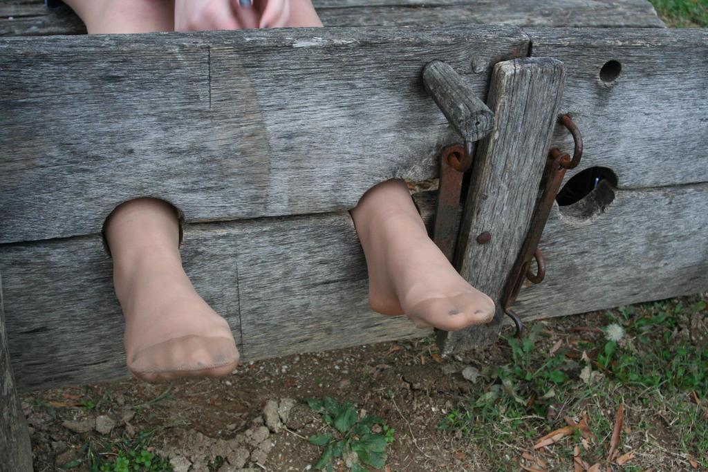 Tickled feet in nylon stockings 8