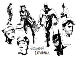 Batman and Catwoman designs by Ponsho
