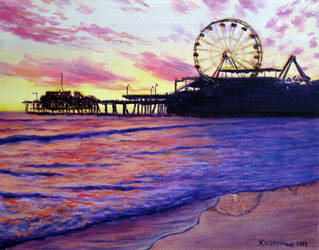 Sunset over Santa Monica Pier by Landscapist