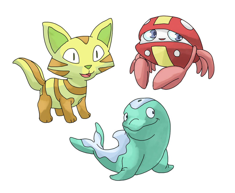 Fakemon Starters for 2014 by facelesscow on DeviantArt