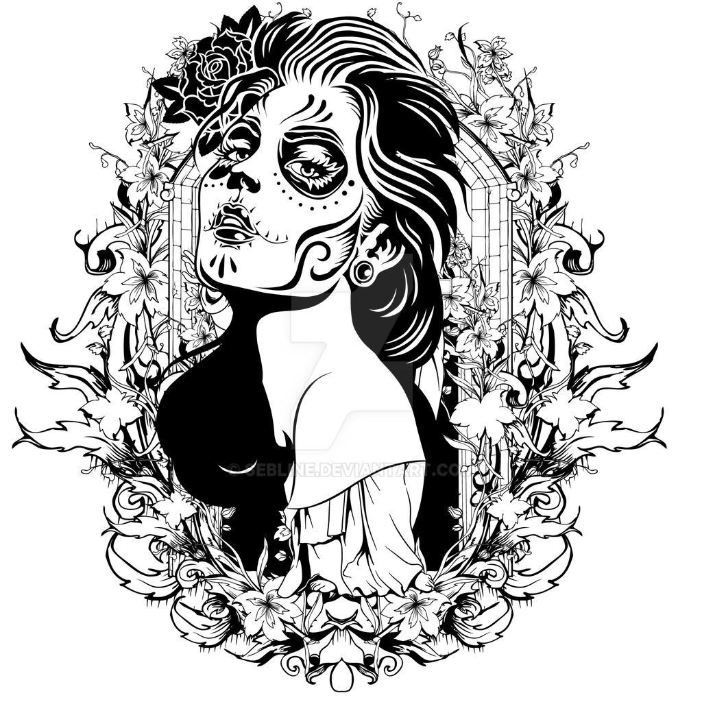 Skeleton Face Line Drawing : Skull girl by sebline on deviantart
