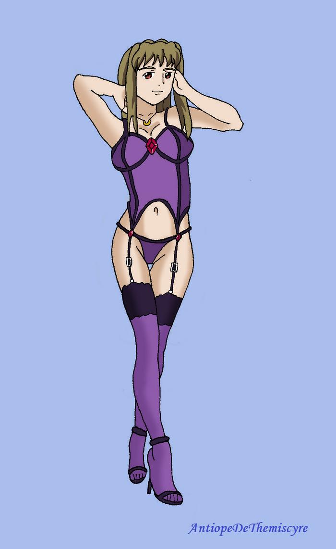Shizuru wearing lingerie by AntiopeDeThemiscyre