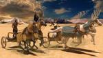 Nerfertiti and Akhenaten Chariot Race by Rhalath