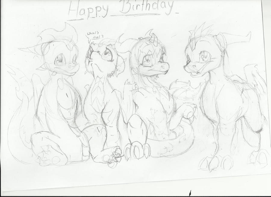 birthday sketch for friends by Minerea
