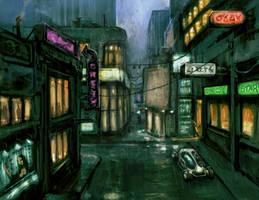 Rainy Street by NicDeGrootArt