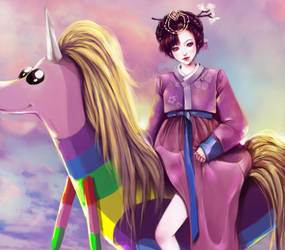 Lady Rainicorn with Hanbok Girl by waywardgal