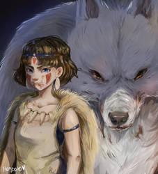 Redraw- Ghibli studio- Mononoke Hime