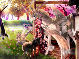 Commission Okogoshi, Pegasus, Wolf by SarahWidiyanti