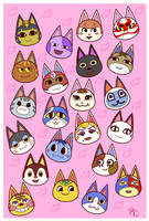 ACNL Cat Villagers by Poefish