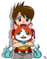 Keita and Jibanyan by Poefish