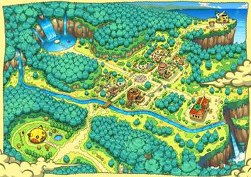 Artwork Dungeon: Team Team. Pokemon Blue Red by PokemonOnlineGames