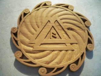 Valknut-Sunwheel in cedar by GraysCreekMedia