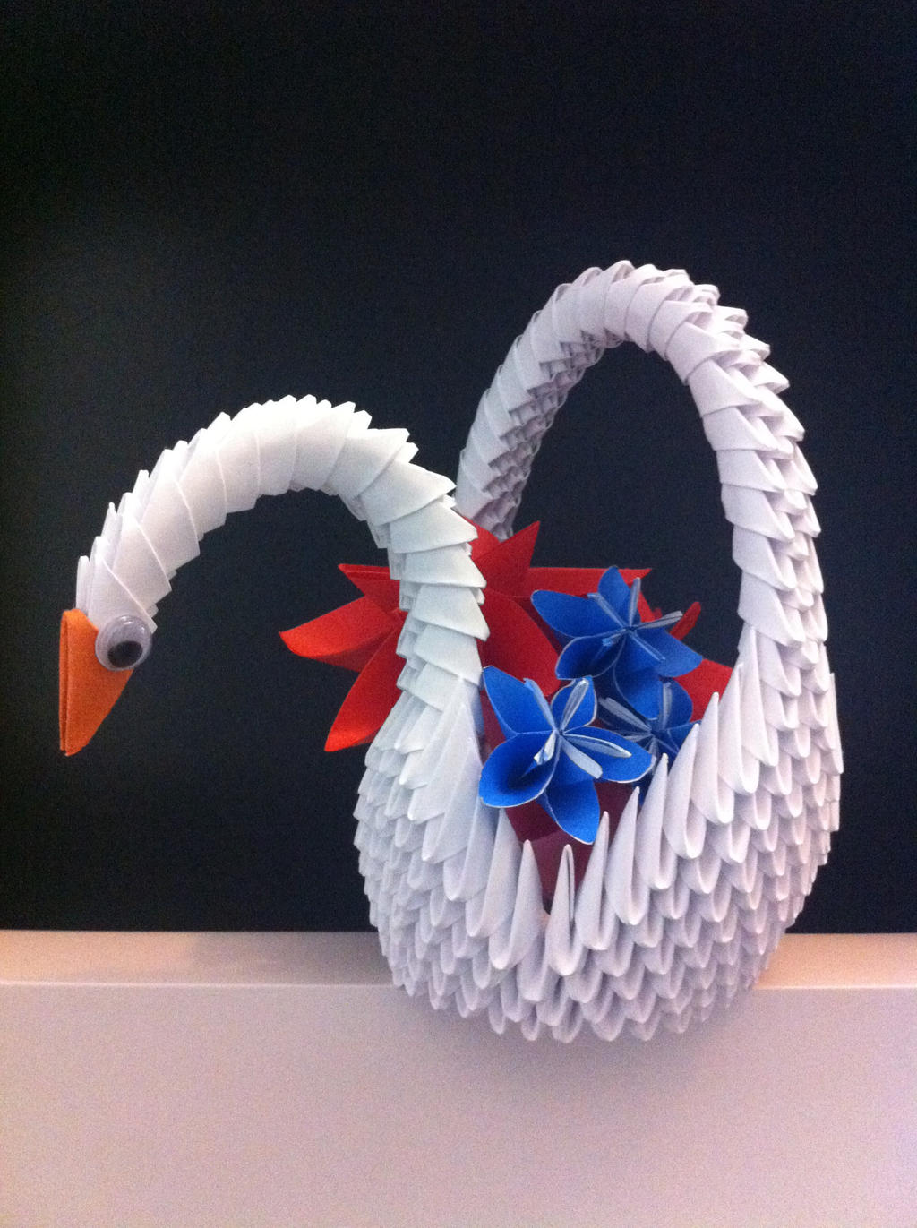 3D Origami Swan Basket By Kanna Chan0