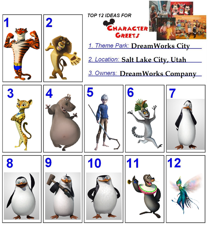 Top 12 Character for DreamWorks City 2/6 by TheFoxPrince11