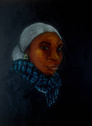 Lady In Blue Scarf by quebishop