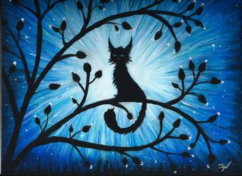 Black cat in acrylic by mAdelya