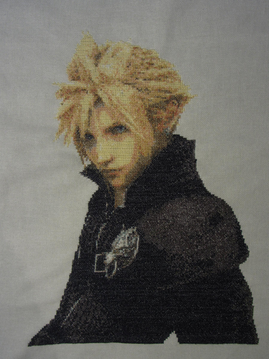 Cloud Strife (Advent Children) - Cross Stitch by Melian-Vidumavi