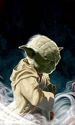 UNSHEATHED-a portrait of Yoda by HOON