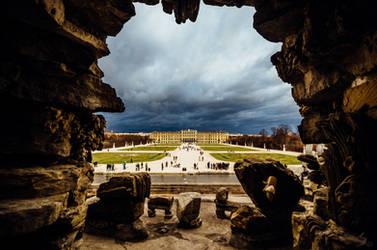 Schonbrunn palace - trough fountain cave view