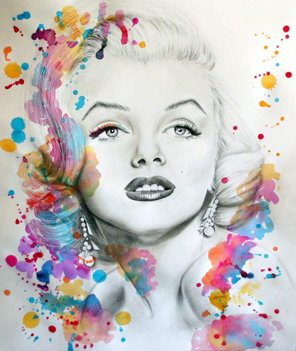 Marilyn Monroe Pencil Portrait And Paint Splash 367833512 on marilyn monroe drawings