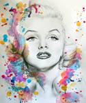 Marilyn Monroe pencil portrait and paint splash