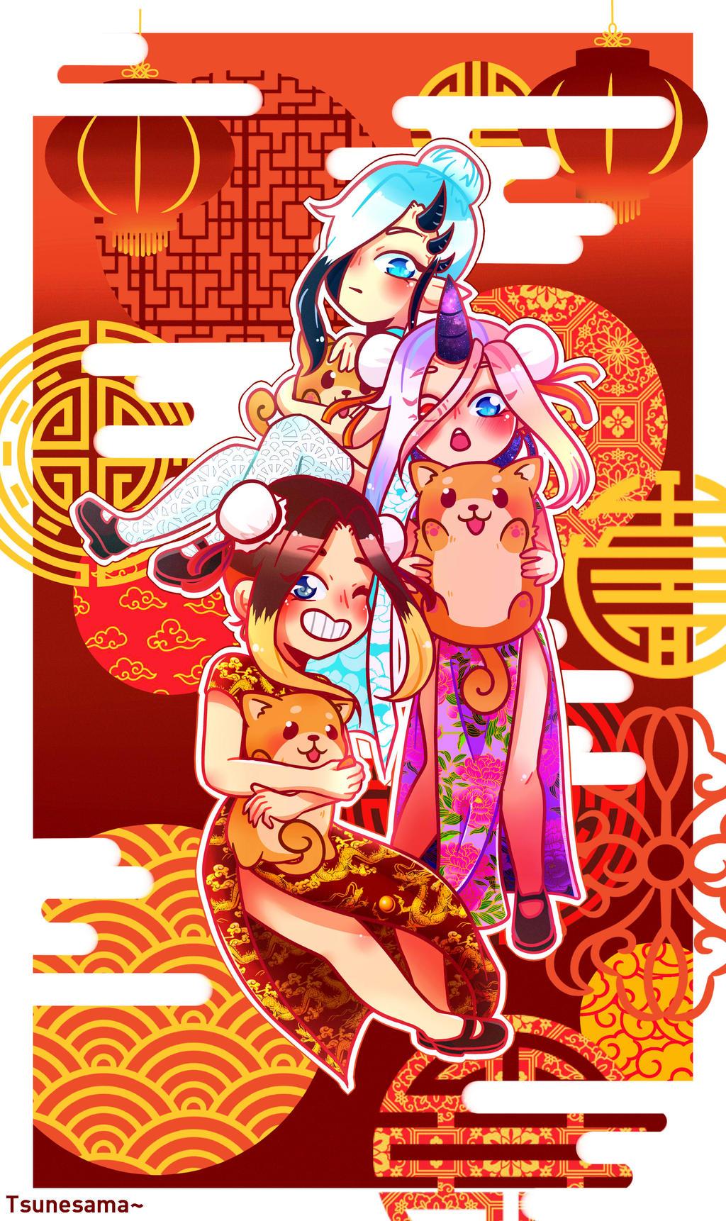 Happy Lunar new year ! ~ by Tsunesamaa