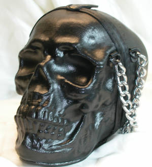 Leather skull purse side