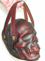 Leather skull purse clutch in ox blood by GriffinLeather