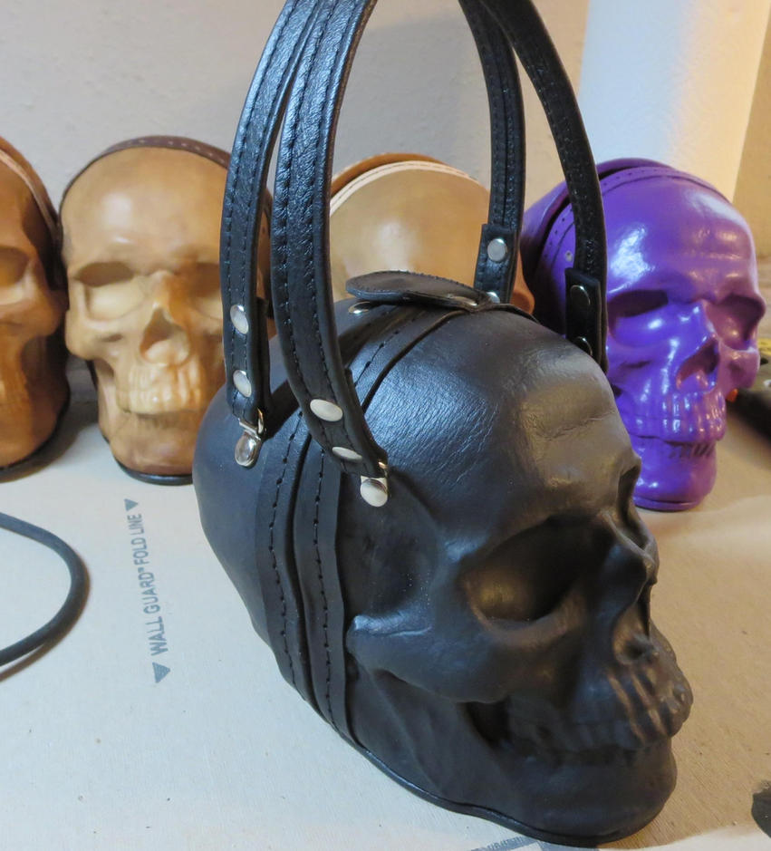 Black skull bag with leather straps by GriffinLeather
