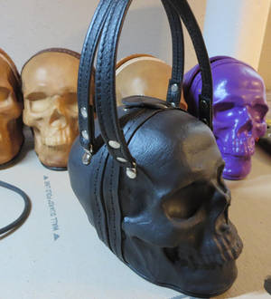 Black skull bag with leather straps