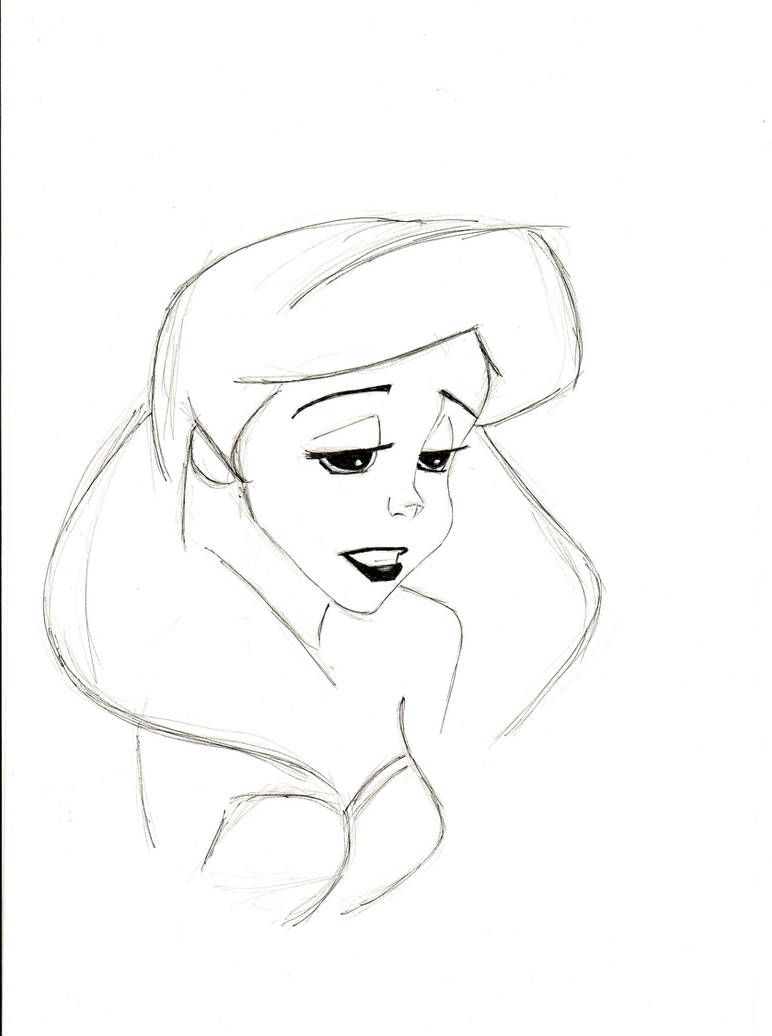 Pencil sketch of sad ariel by mlatimerridley on deviantart