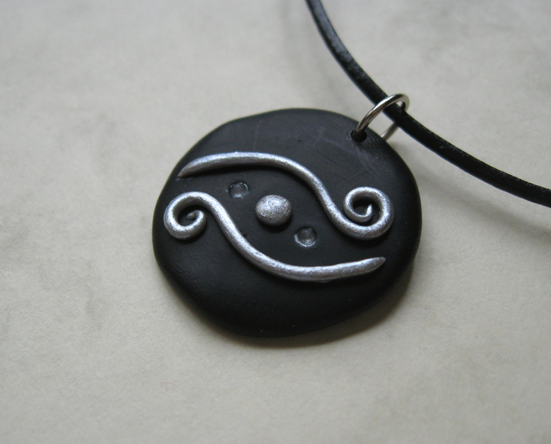 Black and silver fantasy polymer clay pendant by windysunset on black and silver fantasy polymer clay pendant by windysunset mozeypictures Images
