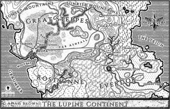 Map of the Lupine Continent from Imperium Lupi
