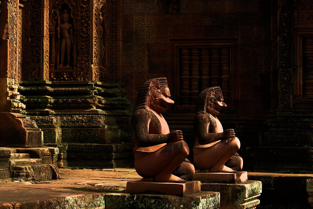 Guardian Monkey Soldiers at Banteay Srey Temple by Mikobi