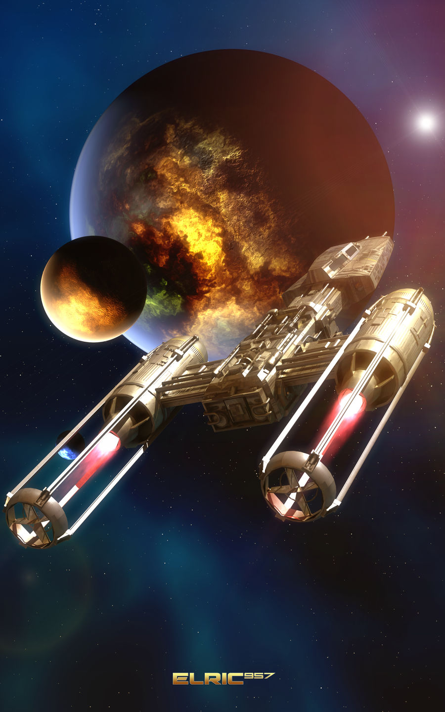 Y-Wing approaching a new homeworld
