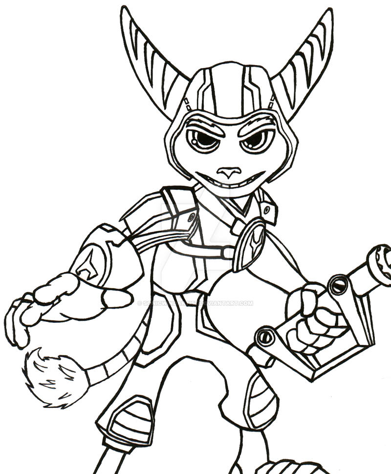 Crack in time ratchet lineart by sonicwindartist on deviantart for Ratchet coloring pages