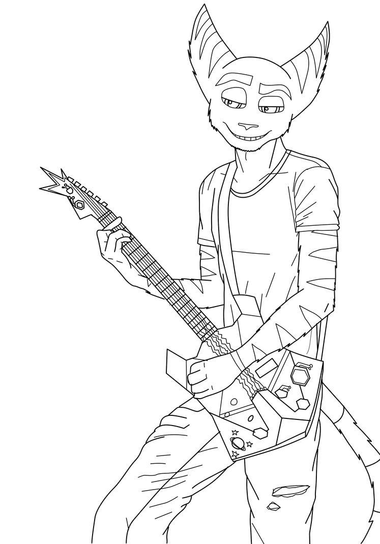 - Ratchet Guitar Lineart - by sonicwindartist
