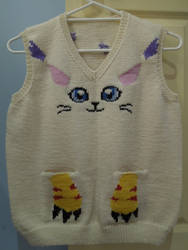 Gatomon motif knitted vest - front