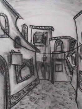 Alleyway Pencil Drawing