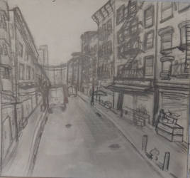 Empty Streets Pencip Drawing