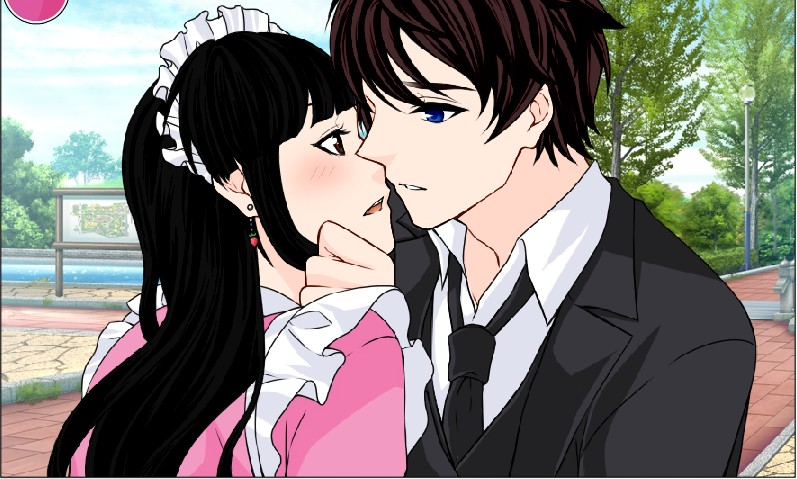 kissing Hotaru in maid outfit