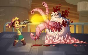 Girl vs Mutant Zombie by OminousHam