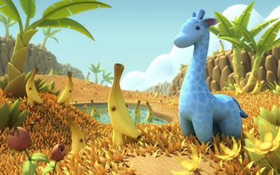 Blue Giraffe in Banana Savannah by OminousHam